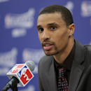 INDIANAPOLIS, IN - MAY 14: George Hill #3 of the Indiana Pacers addresses the media after Game Four of the Eastern Conference Semi-finals against the New York Knicks during the NBA Playoffs on May 14, 2013 at Bankers Life Fieldhouse in Indianapolis, Indiana.  (Photo by Ron Hoskins/NBAE via Getty Images)