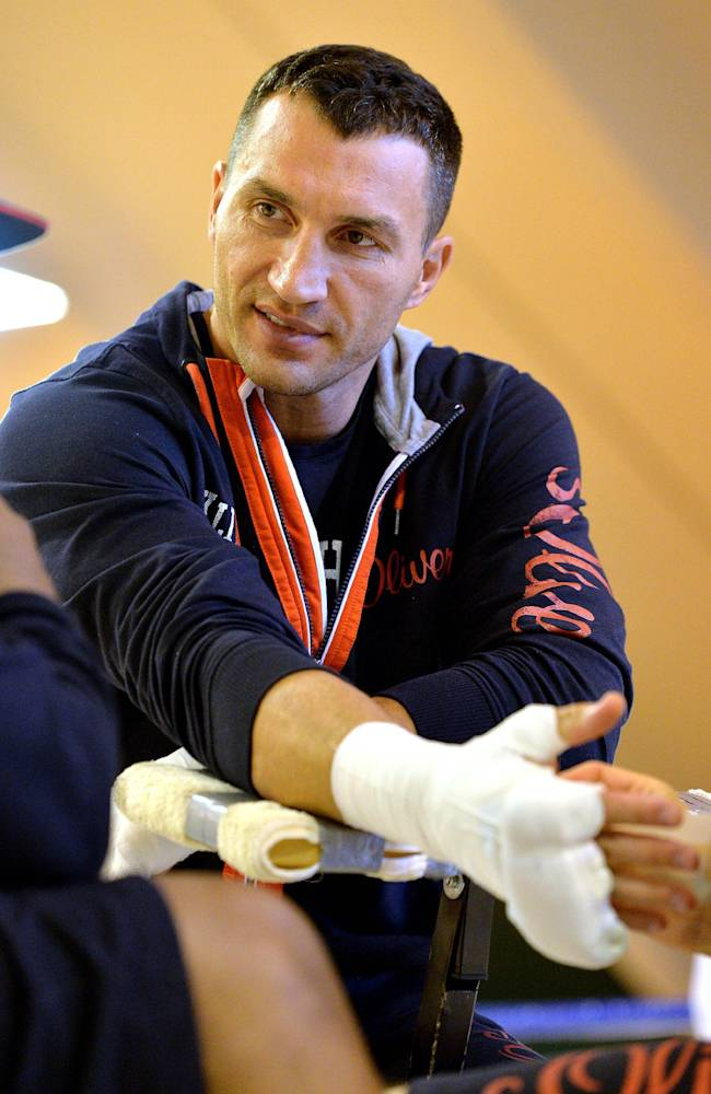 Wladimir Klitschko of Ukraine looks on during a media workout session in Going, Austrian province of Tyrol, Tuesday, April 8, 2014. WBC Heavyweight Champion Wladimir  Klitschko will fight Alex Leapai of Australia in Oberhausen, Germany, on April 26, 2014