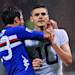 Sampdoria's Citadin Martins Eder and Mauro Icardi celebrate a goal during a Serie A soccer match between Sampdoria and Juventus at the Genoa Luigi Ferraris stadium, Italy, Saturday, May 18, 2013. Sampdoria edged Juventus 3 - 2.  (AP Photo/Carlo Baroncini)