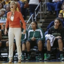 Baylor coach Kim Mulkey yells to her players during the second half of an NCAA college basketball game against West Virginia at WVU Coliseum in Morgantown, W.Va., on Saturday, March 2, 2013. Baylor won 80-49. (AP Photo/David Smith)