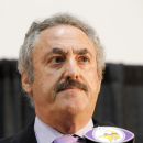 Minnesota Vikings owner Zygi Wilf pauses during a news conference in Eden Prairie, Minn., Wednesday, Sept. 17, 2014. Hours after reversing course and benching Adrian Peterson indefinitely, Wilf said that the team