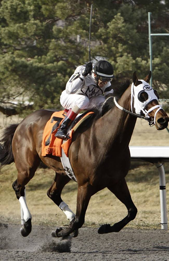 John Velazquez rides Ghost Is Clear as they near the wire to win the Hansen Starter Stakes horse race at Turfway Park race track in Florence, Ky., Saturday, March 22, 2014