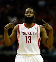 HOUSTON, TX - APRIL 04: James Harden #13 of the Houston Rockets celebrates after hitting a 25 foot three pointer in the fourth period against the Oklahoma City Thunder during a game at the Toyota Center on April 4, 2014 in Houston, Texas. (Photo by Scott Halleran/Getty Images)