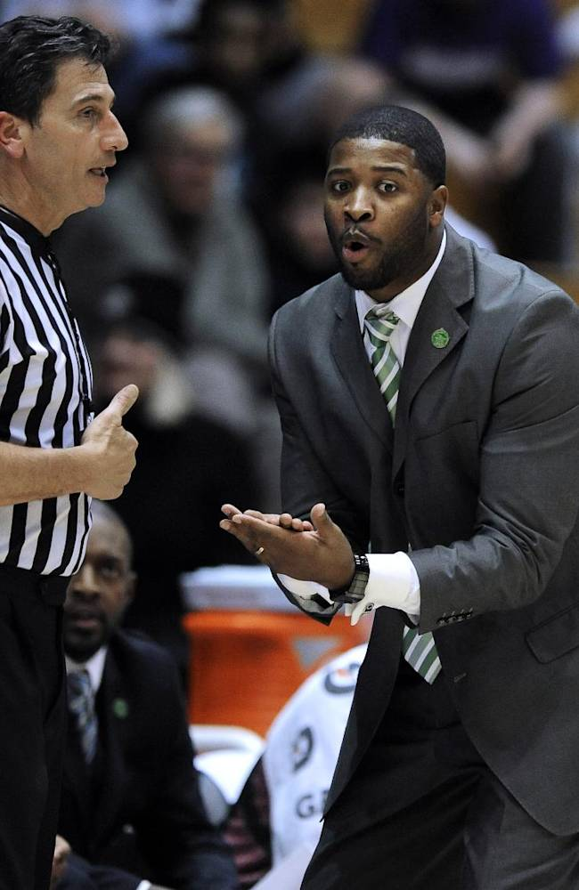 Mississippi Valley State head coach Chico Potts, right, argues with a referee during the first half of an NCAA college basketball game against Northwestern in Evanston, Ill., Monday, Dec. 16, 2013. Northwestern won 86-64