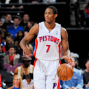 AUBURN HILLS, MI - APRIL 7: Brandon Knight #7 of the Detroit Pistons advances the ball against the Chicago Bulls on April 7, 2013 at The Palace of Auburn Hills in Auburn Hills, Michigan. (Photo by Allen Einstein/NBAE via Getty Images)