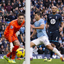 Manchester City s Sergio Aguero, centre, scores past Tottenham s goalkeeper Hugo Lloris as Younes Kaboul looks on during their English Premier League soccer match at the Etihad Stadium, Manchester, England, Sunday Nov. 24, 2013