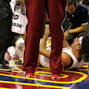 CLEVELAND, OH - DECEMBER 23: Anderson Varejao #17 of the Cleveland Cavaliers lies on the court receiving treatment after an injury in the third quarter against the Minnesota Timberwolves at Quicken Loans Arena on December 23, 2014 in Cleveland, Ohio. (Photo by Mike Lawrie/Getty Images)