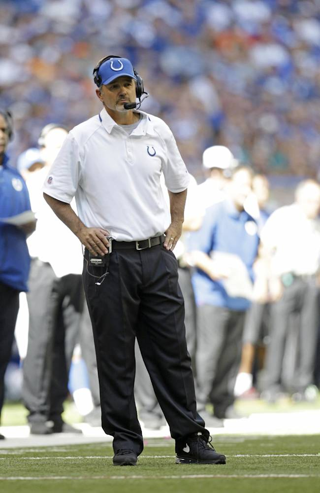 Indianapolis Colts head coach Chuck Pagano watches during the second half an NFL football game against the Miami Dolphins Sunday, Sept. 15, 2013, in Indianapolis