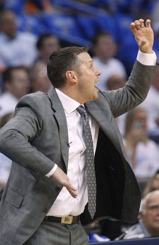 Memphis Grizzlies head coach David Joerger shouts to his team in the second quarter of Game 2 of an opening-round NBA basketball playoff series against the Oklahoma City Thunder in Oklahoma City, Monday, April 21, 2014