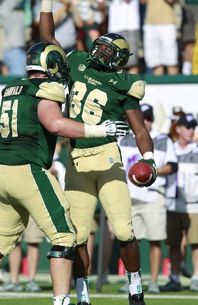Colorado State tight end Kivon Cartwright, right, celebrates his touchdown reception with offensive lineman Ty Sambrailo against Cal Poly in the fourth quarter of Colorado State's 34-17 victory in an NCAA college football game in Fort Collins, Colo., on Saturday, Sept. 14, 2013