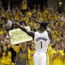 Indiana Pacers' Lance Stephenson (1) celebrates after hitting a basket and being fouled during the second half of Game 6 of an Eastern Conference semifinal NBA basketball playoff series against the New York Knicks, Saturday, May 18, 2013, in Indianapolis. The Pacers defeated the Knicks 106-99 to win the series 4-2. (AP Photo/Darron Cummings)