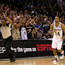 Gary Neal #14 of the San Antonio Spurs reacts after making a three-pointer in the fourth quarter while taking on the Miami Heat during Game Three of the 2013 NBA Finals at the AT&T Center on June 11, 2013 in San Antonio, Texas. (Photo by Mike Ehrmann/Getty Images)