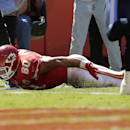 Kansas City Chiefs tight end Anthony Fasano (80) scores on a 5-yard touchdown reception in front of Tennessee Titans safety Michael Griffin (33) in the second half of an NFL football game in Kansas City, Mo., Sunday, Sept. 7, 2014 The Associated Press