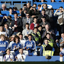 Chelsea's Samuel Eto'o, right, celebrates his goal against Sunderland during an English Premier League soccer match at the Stamford Bridge ground in London, Saturday April 19, 2014. Sunderland won the match 2-1