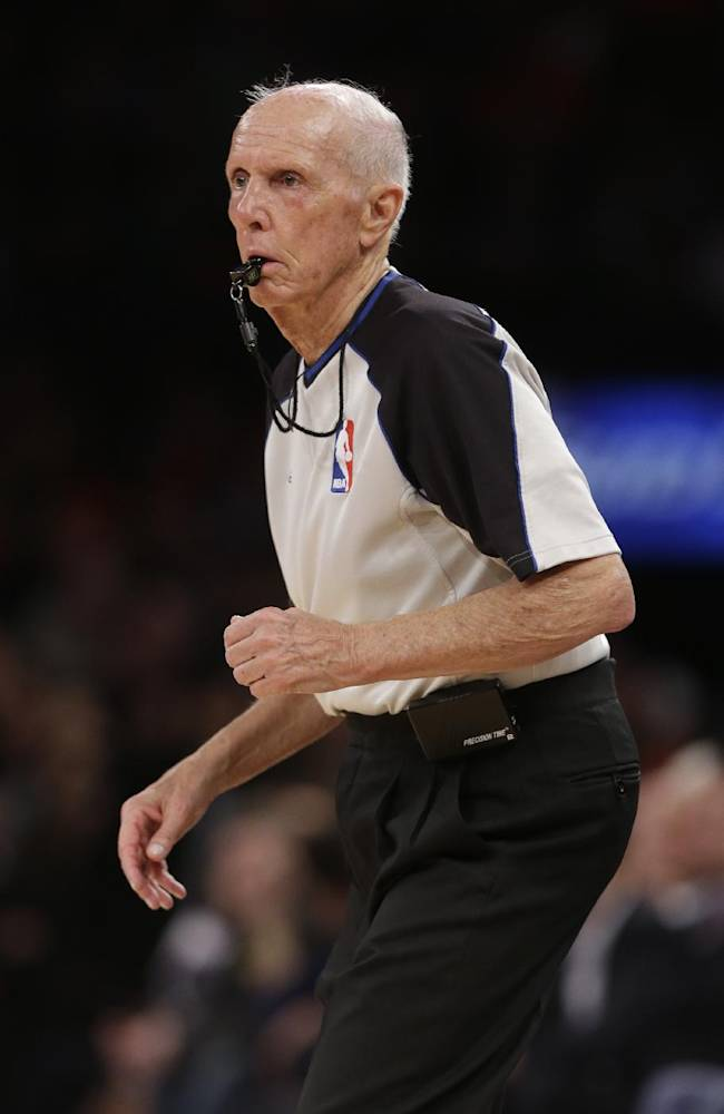 Referee Dick Bavetta   works during the first half of an NBA basketball game between the New York Knicks and the Brooklyn Nets Wednesday, April 2, 2014, in New York.    Bavetta worked his 2,633rd consecutive game assignment Wednesday, an ironman streak even longer than the one baseball Hall of Famer Cal Ripken Jr. compiled.  The Knicks won the game 110-81
