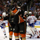 Anaheim Ducks center Rickard Rakell, front left, celebrates his goal with left wing Jiri Sekac during the second period of an NHL hockey game against the Montreal Canadiens in Anaheim, Calif., Wednesday, March 4, 2015. (AP Photo/Chris Carlson)