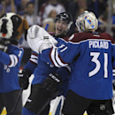 Colorado Avalanche center Matt Duchene (9) smiles and laughs with Calvin Pickard (31) after beating the Dallas Stars 5-2 during an NHL hockey game Saturday, Nov. 29, 2014, in Denver The Associated Press