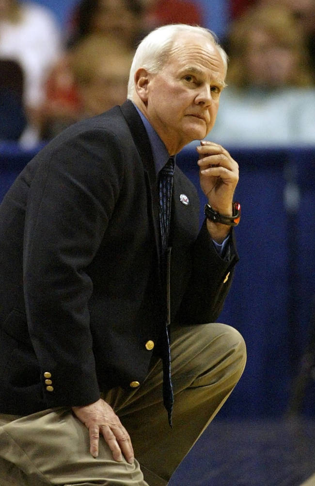In this March 2, 2007 file photo, Indiana State coach Royce Waltman watches the action for the last time as head coach in the second half against Creighton, in a Missouri Valley Conference quarterfinal basketball game in St. Louis. Waltman, an assistant to Bob Knight at Indiana and a longtime basketball coach around the Hoosier state, died Monday night, April 7, 2014,  after battling a long illness. He was 72