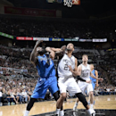 Tim Duncan #41 of the San Antonio Spurs battles for rebound position against the Dallas Mavericks in Game Seven of the Western Conference Quarterfinals during the 2014 NBA Playoffs on MAY 4, 2014 at the AT&T Center in San Antonio, Texas