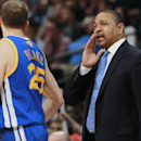 Golden State Warriors head coach Mark Jackson, right, confers with guard Steve Blake during time out against the Denver Nuggets in the fourth quarter of the Warriors' 116-112 victory in an NBA basketball game in Denver on Wednesday, April 16, 2014 The Ass