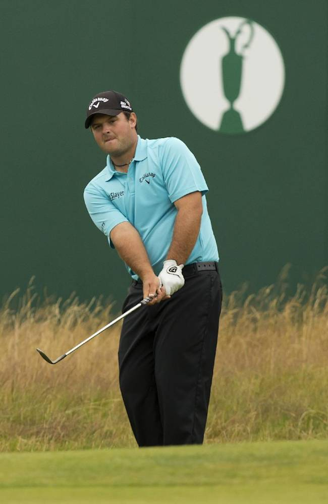Patrick Reed of the US plays a shot near the 18th green during a practice round at Royal Liverpool Golf Club prior to the start of the British Open Golf Championship, in Hoylake, England, Saturday, July 12, 2014. The 2014 Open Championship starts on Thursday July 17
