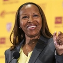 New Southern California head coach Cynthia Cooper-Dyke speaks during an NCAA college basketball news conference, Tuesday, April 16, 2013, in Los Angeles. Cooper-Dyke replaces Michael Cooper, who quit last month after four seasons. (AP Photo/Damian Dovarganes)