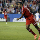 FC Dallas forward Tesho Akindele celebrates after scoring against the Vancouver Whitecaps in the first half of an MLS playoff soccer match, Wednesday, Oct. 29, 2014, in Frisco, Texas The Associated Press