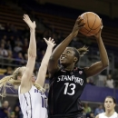 Stanford's Chiney Ogwumike (13) shoots as Washington's Kristi Kingma defends during the first half of an NCAA college basketball game Thursday, Feb. 28, 2013, in Seattle. (AP Photo/Elaine Thompson)