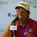 Erik Compton speaks to reporters after his first round at the McGladrey Classic golf tournament on Thursday, Oct. 23, 2014, in St. Simons Island, Ga. (AP Photo/Stephen B. Morton)
