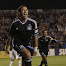 San Jose Earthquakes' Alan Gordon celebrates after scoring against Real Salt Lake during the second half of an MLS soccer game in Santa Clara, Calif., Saturday, July 14, 2012 The Associated Press