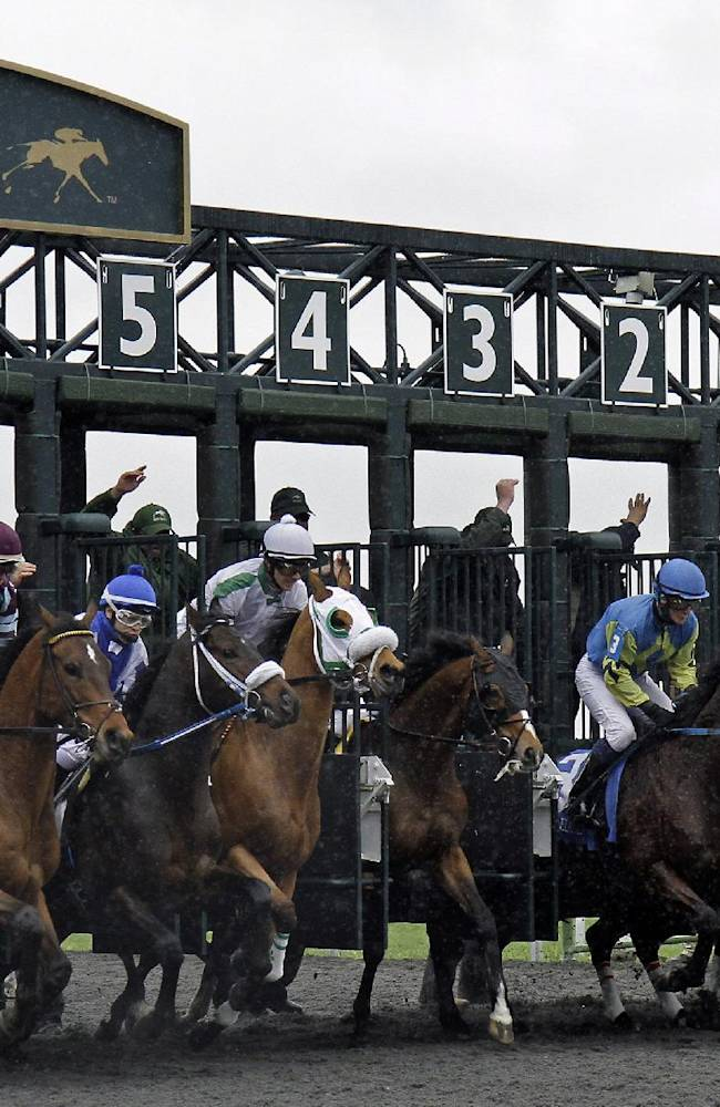 Thoroughbreds break from the starting game in the first horse race of opening day at Keeneland in Lexington, Ky., Friday, April 4, 2014. English Council (4), getting a late start, won the race