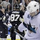 Pittsburgh Penguins' Chris Kunitz (14) celebrates his first of two second-period goals with teammate Sidney Crosby (87) as San Jose Sharks' Tommy Wingels (57) skates back to his bench during an NHL hockey game in Pittsburgh Thursday, Dec. 5, 2013.(AP Photo/Gene J. Puskar)