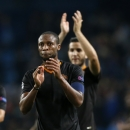 Roma's Seydou Keita applauds his fans after a Champions League group E soccer match between Manchester City and Roma at the Etihad Stadium, Manchester, England, Tuesday, Sept. 30, 2014. The match ended 1-1