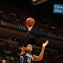 MIAMI, FL - APRIL 13: Tobias Harris #12 of the Orlando Magic shoots against the Miami Heat on April 13, 2015 at American Airlines Arena in Miami, Florida. (Photo by Oscar Baldizon/NBAE via Getty Images)