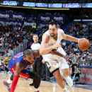 NEW ORLEANS, LA - DECEMBER 11: Ryan Anderson #33 of the New Orleans Pelicans drives to the basket against the Detroit Pistons during an NBA game on December 11, 2013 at the New Orleans Arena in New Orleans, Louisiana. (Photo by Layne Murdoch/NBAE via Getty Images)