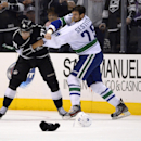 Los Angeles Kings center Jordan Nolan, left, and Vancouver Canucks left wing Tom Sestito fight during the second period of an NHL hockey game, Saturday, Nov. 9, 2013, in Los Angeles The Associated Press