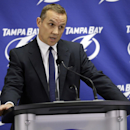 Tampa Bay Lightning general manager Steve Yzerman reacts as he talks about the trade of team captain Martin St. Louis to the New York Rangers Wednesday, March 5, 2014, in Tampa, Fla. The Lightning got Ryan Callahan and a first and conditional second round