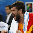 Spain's Marc Gasol shouts during the EuroBasket European Basketball Championship bronze medal match against Croatia in Ljubljana, Slovenia, Sunday, Sept. 22, 2013. (AP Photo/Petr David Josek)