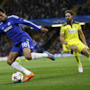 Chelsea's Loic Remy, left, controls the ball during the Champions League Group G soccer match between Chelsea and NK Maribor at Stamford Bridge stadium in London Tuesday, Oct. 21, 2014