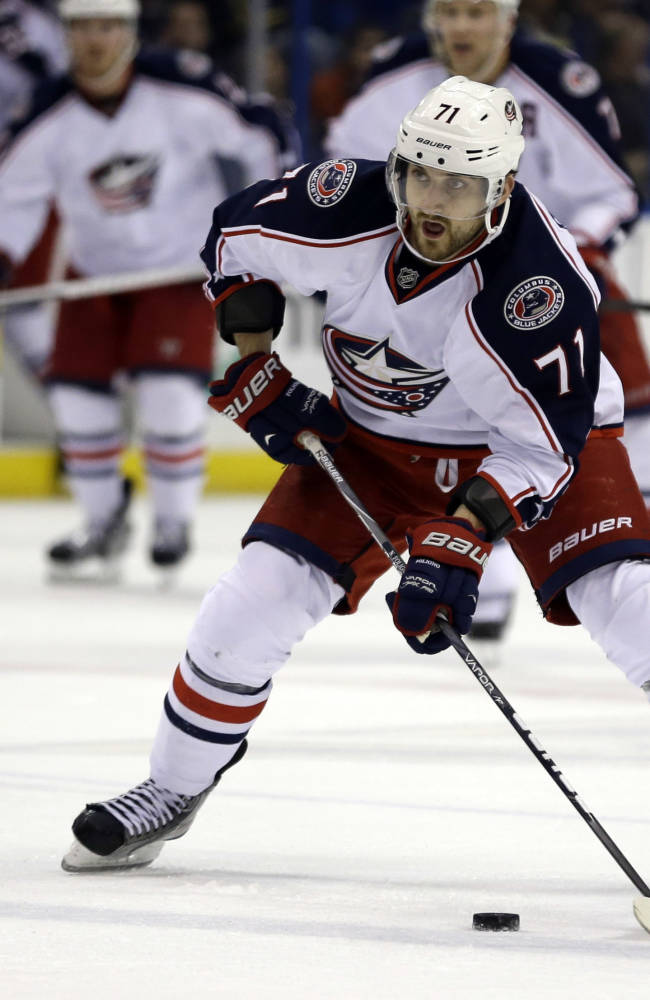 In this April 5, 2013 file photo, Columbus Blue Jackets' Nick Foligno handles the puck during the third period of an NHL hockey game against the St. Louis Blues in St. Louis. After a dramatic run that fell just short of the playoffs, the Columbus Blue Jackets are back for another season with high expectations