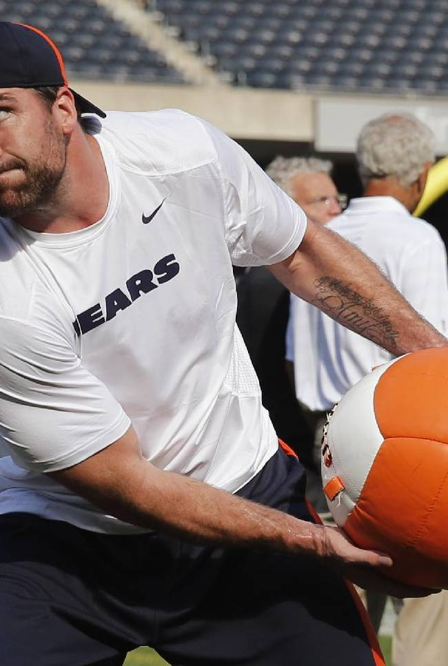 Chicago Bears defensive end Jared Allen warms up before an NFL preseason football game against the Philadelphia Eagles Friday, Aug. 8, 2014, in Chicago