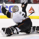 Anaheim Ducks goalie Frederik Andersen makes a glove save on a shot by Los Angeles Kings right wing Justin Williams during the second period of an NHL hockey game in Los Angeles, Saturday, March 15, 2014. (AP Photo/Danny Moloshok)