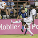 San Jose Earthquakes midfielder Shea Salinas takes a shot past Real Salt Lake defender Abdoulie Mansally (29) during the second half of an MLS soccer match Saturday, Aug. 30, 2014, in Santa Clara, Calif. The game ended in a 1-1 tie The Associated Press