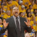 Head coach Mark Jackson of the Golden State Warriors calls a play while facing the Los Angeles Clippers in Game Four of the Western Conference Quarterfinals during the 2014 NBA Playoffs at Oracle Arena on April 27, 2014 in Oakland, California. (Photo by Rocky Widner/NBAE via Getty Images)