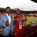 Britain Boxing - Kell Brook & Errol Spence Press Conference - Bramall Lane, Sheffield - 22/3/17 Kell Brook and Errol Spence pose after the press conference Action Images via Reuters / Lee Smith Livepic