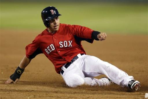Boston Red Sox's Jacoby Ellsbury slides safely back to first base after Daniel Nava hit a fly-out in the third inning of an exhibition spring training baseball game against the Minnesota Twins in Fort Myers, Fla., Thursday, March 28, 2013