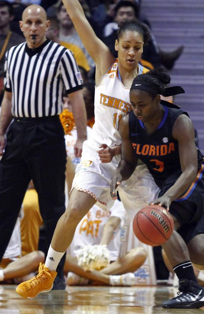 Florida guard January Miller (3) drives against Tennessee forward Cierra Burdick (11) in the first half of an NCAA college basketball game Thursday, Jan. 23, 2014, in Knoxville, Tenn