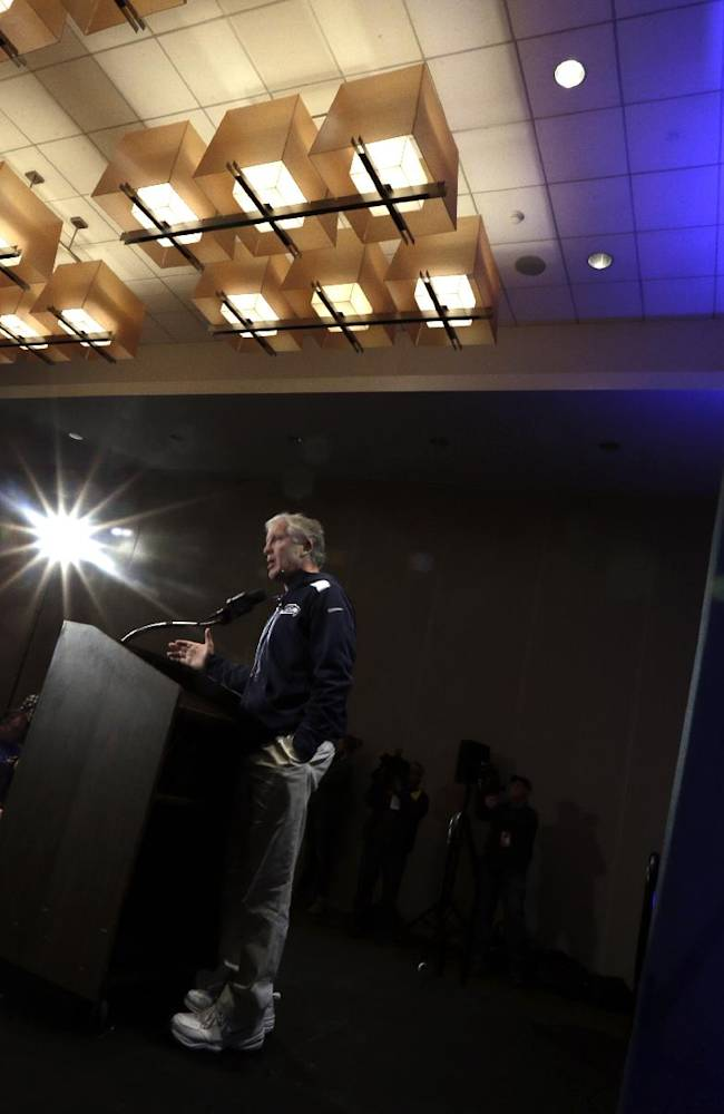 Seattle Seahawks head coach Pete Carroll speaks during a news conference Wednesday, Jan. 29, 2014, in Jersey City, N.J. The Seahawks and the Denver Broncos are scheduled to play in the Super Bowl XLVIII football game Sunday, Feb. 2, 2014