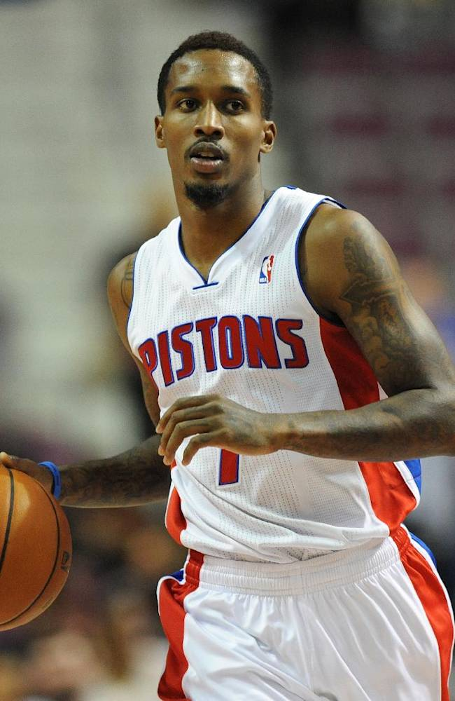 Detroit Pistons guard Brandon Jennings (7) takes the ball upcourt against Maccabi Haifa during the third quarter of an NBA preseason basketball game at the Palace of Auburn Hills, Mich., Tuesday, Oct. 8, 2013
