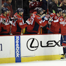 Washington Capitals left wing Alex Ovechkin (8), of Russia, celebrates his goal with Tom Wilson (43), Jay Beagle (83) and others during the second period of an NHL hockey game against the Colorado Avalanche, Monday, Jan. 12, 2015, in Washington The Associ